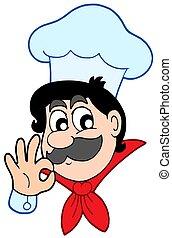 Happy chef on white background - isolated illustration.