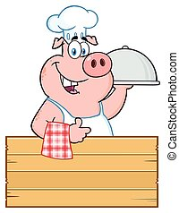 Happy Chef Pig Cartoon Mascot Character With A Cloche Platter Over A Wooden Sign Giving A Thumb Up