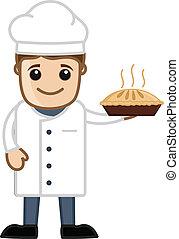 Happy Chef Presenting Cake