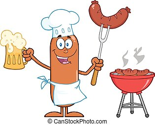 Happy Chef Sausage Cartoon Character Holding A Beer And ...