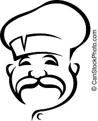 Black and white doodle sketch of the head of a happy chef with a droopy moustache wearing a white toque
