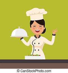 Happy chef woman holding a platter. Isolated vector illustration
