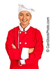 Happy chef woman