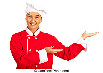 Happy chef woman welcoming