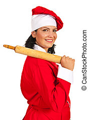 Happy chef woman with rolling pin
