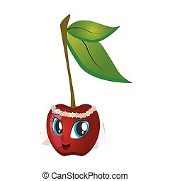 happy cherry cartoon cartoon,  character,  cherry,  face,  food,  fresh,  fruit,