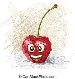 happy cherry - happy red cartoon cherry fruit character...