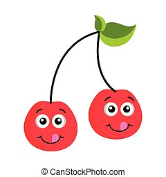 Happy cherry emoticon