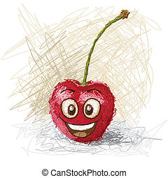 happy red cartoon cherry fruit character smiling.