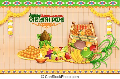 Happy Chhath Puja Holiday background for Sun festival of...
