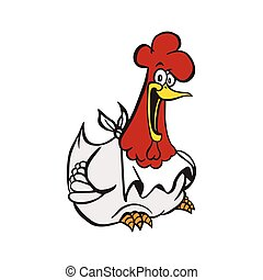 happy chicken cartoon vector illustration