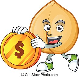 happy chickpeas cartoon character with gold coin
