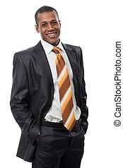 Happy chief - Portrait of successful professional in black...