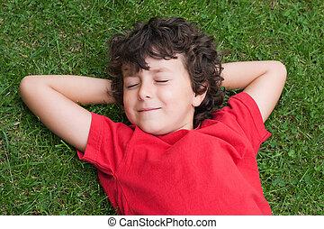 Happy child asleep on the grass