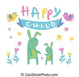 Happy Child Backdrop Illustration With Rabbits
