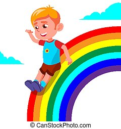 Happy Child Boy Rolling Down The Rainbow Vector. Illustration