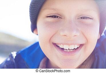 happy child boy smile closeup