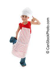 Happy child chef thumbs up