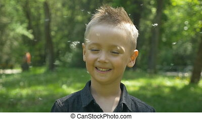 Happy child enjoys dandelion flying with green trees and...