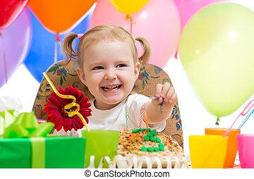 happy child girl on birthday party