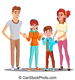 Happy Child Holding Hands With Parents Vector. Isolated Illustration