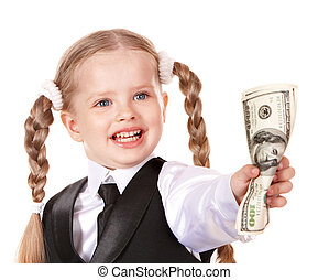 Happy child holding money dollar.