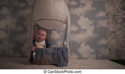 Happy child in a balloon
