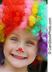 Happy Child in Clown Costume