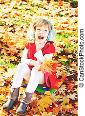 happy child in fall park