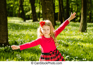 happy child in forest