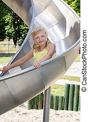 happy child in the slide