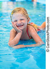 happy child in the water