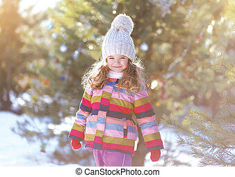 Happy child in winter day