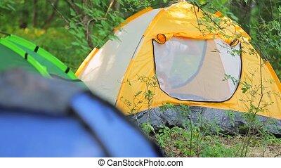 Happy Child Inside Tourist Tent In Park