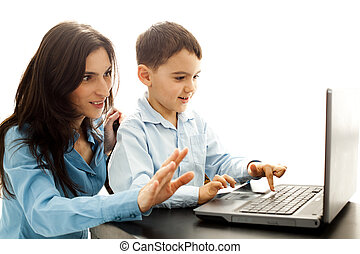 happy child learning typing
