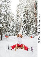 Happy child outdoor in winter