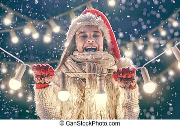 girl enjoying the holidays