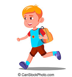 Happy Child Running With A School Bag Vector. Education. September. Isolated Illustration