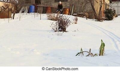 Happy Child Sledding in Snow
