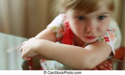 Happy child wakes up. - Children in the kitchen