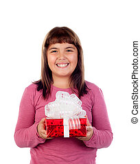 Happy child with a red gift