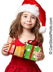 Happy child with Christmas presents