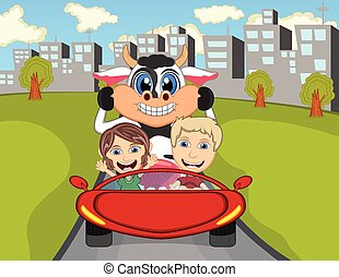 Happy Child with cow on a car