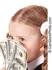 Happy child with dollar money.
