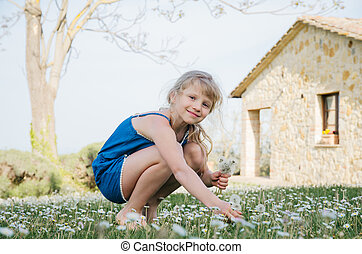 happy child with flowers