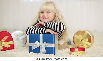 Happy child with gifts