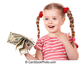 Happy child with money dollar.