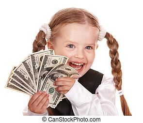 Happy child with money dollar.