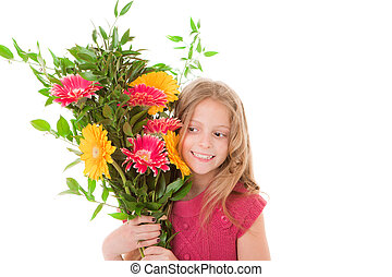 mothers day or birthday gift - happy child with mothers day ...