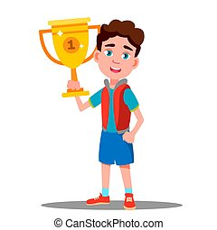 Happy Child With Sport Cup In Hand Vector. Competition. Isolated Illustration